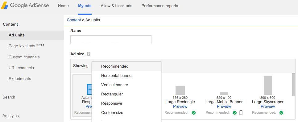 Google AdSense 내의 광고 옵션.